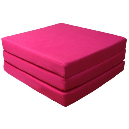Comfortable 100% Cotton Single Fold Out Cube Bed Chair Stool Pouffe Futon in Fuchsia Pink. Soft, Comfortable & Lightweight with a Removeable Cover. Available in 12 Colours.