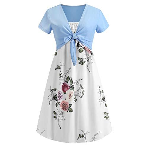 leider Kurzarm Shirts Einfarbig Blumen Sommer LäSsige Mini Kleid Festlich Party Kleider Strandkleider(A9-Weiß,EU-34/CN-S) ()