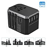 EIVOTOR 4 USB 1 Typ-C Universal USB Reiseadapter Weltweit World Travel Adapter Stromadapter Internationale Ladegeräte Reisestecker mit Ersatzsicherung für Reisen in US UK EU AU Asien Über 150 Ländern