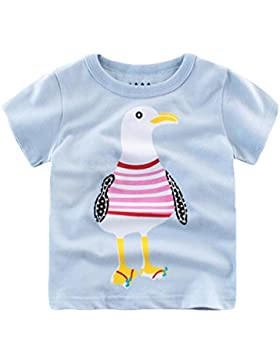 YAANCUN Niños Cangrejo Impresión Manga Corta Camisetas Redondo Cuello Tops