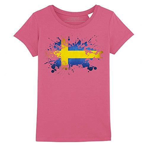 Stuff4® Mädchen/Alter 9-11 (134-146cm)/Dunkelpink/Rundhals T-Shirt/Schweden/Schwedische Flagge Splat