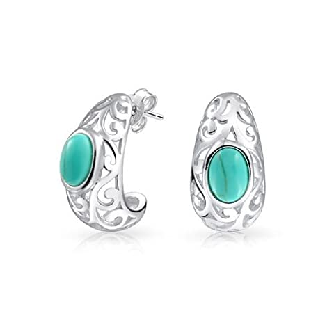 Bling Jewelry 925 Silver Filigree Turquoise synthétique la moitié Hoops Earrings