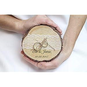 Ringkissen Baumscheibe für Eheringe zur Hochzeit