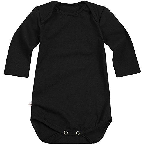 """Lilakind"""" Langarm Baby Body Baumwolle Jersey Uni Jungen Mädchen Schwarz Gr. 74/80- Made in Germany"""