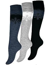 3 pares Calientes Térmicos Calcetines hasta la Rodilla Medias para Mujer