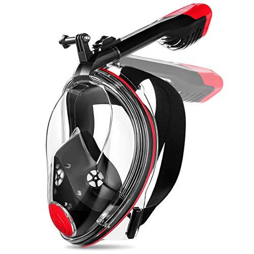 MOVTOTOP Tauchmaske 【2019 Neue】, Faltbare Vollgesichtsmaske Schnorchelmaske mit 180°Sichtfeld und Kamerahaltung, Anti-Fog Anti-Leck Easybreath Vollmaske für Erwachsene & Kinder