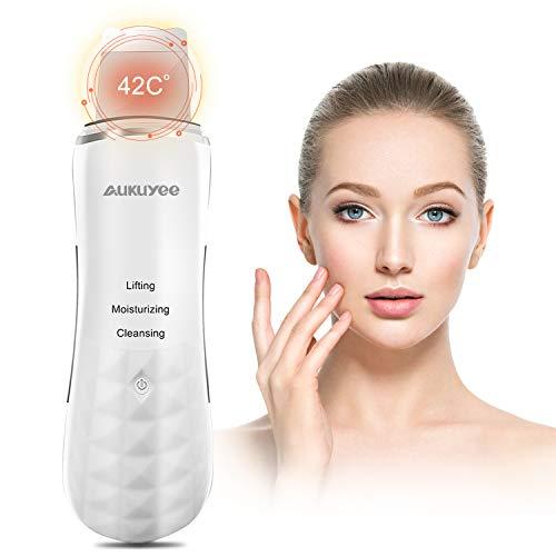 AUKUYEE Ultraschall Haut Scrubber, Haut Scrubber Ultraschall-Peeling Porenreiniger Skin Scrubber Akne-Entferner Ionen Hautreiniger für Gesichtsreinigung Gesichtspflege (Weiß)