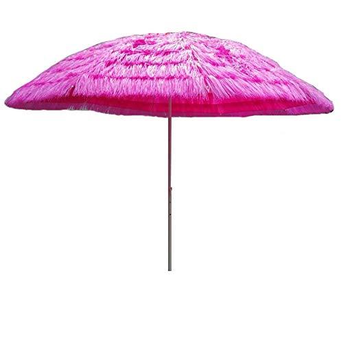 Kuwd ombrello tiki di paglia, design rotondo, rosa, 10 costole, diametro aperto 2,8 m, ombrelloni, altezza 2,5 m, senza base per giardini, piscine, spiagge