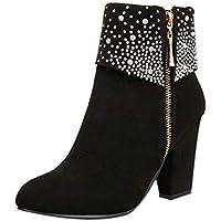 Botines para Mujer K-youth Botas Mujer Invierno Zapatos Mujer Diamantes De Imitación Cabeza Redonda Botas para Mujer con Cremallera Lateral Botas De Tacón Alto Botas de Mujer