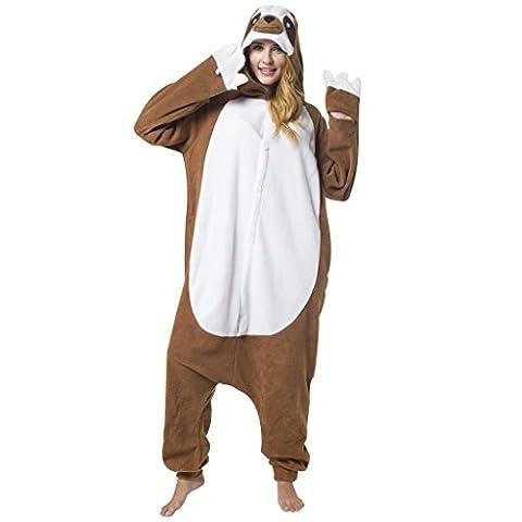 Katara 1744 -Faultier Kostüm-Anzug Onesie/Jumpsuit Einteiler Body für Erwachsene Damen Herren als Pyjama oder Schlafanzug Unisex - viele verschiedene Tiere
