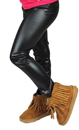 Kinder Leggins Hose Leder Look TIGER Leggings Teenager Legins Mädchen Leggings Leopard (122/128, Modell 01)