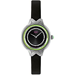 Matthew Williamson Women's Quartz Watch with Black Dial Analogue Display and Black Leather Strap LSM34001/04