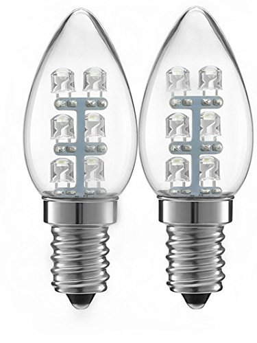 ALFA Beleuchtung LED 0,5 Watt (5 W), 15 Lumen C7 Night Leuchtmittel 2900 K weichen, weißen Licht, E14 Basis, 2er Pack [Energieklasse A+++]