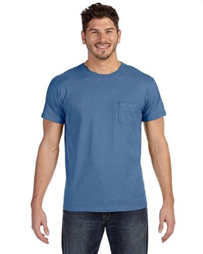 Hanes Herren Asymmetrischer T-Shirt Blau - Vintage Denim