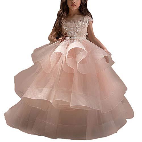 Bangxiu Mädchen Partykleid Ärmelloses rosa Anhänger Blumenmädchenkleid für Kinder Geburtstagshow Puffed Maxi Dress Formelle Party Geburtstag Abschlussballkleid (Größe : ()