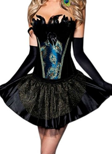 Damen Burlesque Peacock Feathers Corsage Kleid Party Halloween (Schwarz Halloween Peacock Kostüme)