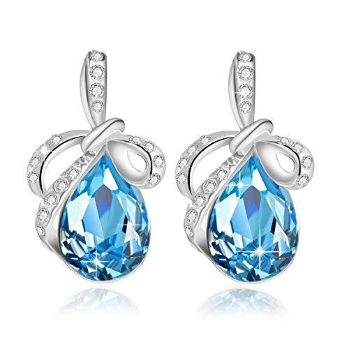 Cristallo swarovski orecchini donne perno zaffiro orecchini donne regalo di pietra dei nati gioielli rodiato farfalla