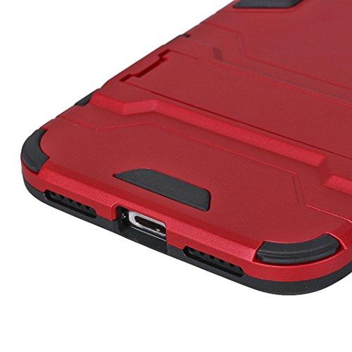 Armatura Cover per iPhone X, Asnlove 2 in 1 Protezione a Doppio Strato Caso Corazza Antiurto Protettiva Custodia Con il Sostegno Stealth Cassa PC Plastica e TPU Silicone Case Armor, Nero Rosso