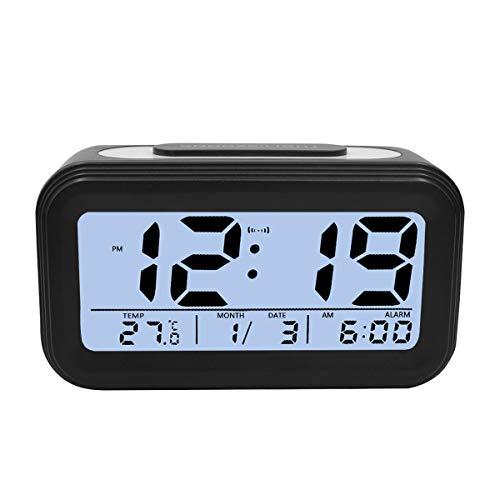 KidsPark Wecker Digital, Digitaler Wecker LED Kinderwecker mit Datum Temperatur Anzeige Batterie Digitalwecker Reisewecker mit Snooze und Nachtlicht Funktion, Schwarz
