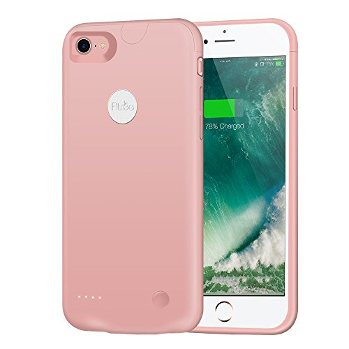 Atree iPhone 7Housse de batterie (2800mAh) Ultra fin Extended étui de chargement pour iPhone 7(11,9cm) Compartiment de batterie externe chargeur portable Battery Pack Etui/câble Lightning Mode d'e rose gold