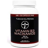 ★ Vitamin B3 ★ 500 mg Flush Free Nicotinsäureamid - 200 Stück (6+ Monatsvorrat) an Schnell Auflösende Kapseln, mit je 500mg an Hochwertigem Niacinamide-Pulver, von TUDIMO
