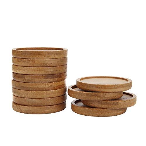 T4U 6.5CM Klein Runde Untersetzer aus Bambus 12 teilig Set