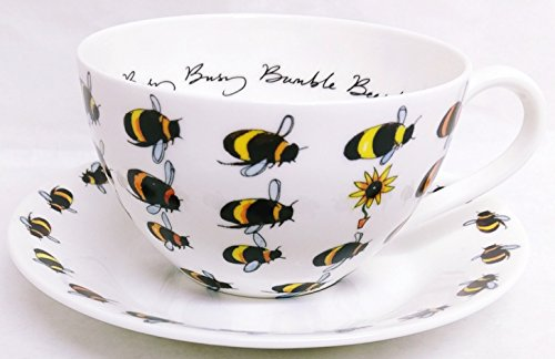 Busy Bumble Bee Frühstück Cappuccino-Tasse & Untertasse Fine Bone China Bienen Large Tasse Untertasse Set Hand verziert in UK (Bumble Bee-home)