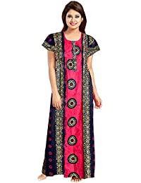Mudrika Women's Cotton Night Gown Dress (Multicolor, Free Size)