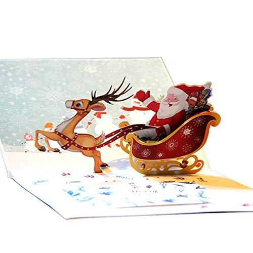 TBSHLT Weihnachtskarten aus Papier - Laserschnitt - 3D Pop-Up Weihnachtskarte/Grußkarte für Weihnachten/Neujahr -5 Karten & Umschläge