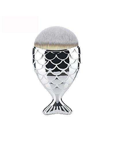 CHENG MSQ Mermaid Foundation Pinceau De Maquillage En Forme De Poisson Fard À Joues Cosmétique Maquillage Brosse Outil Kit Fishtail Fond Contour Mélange Brosse,Silver