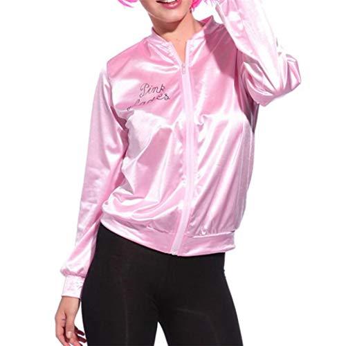 (SHINEHUA Pullover Damen, Women Long Sleeve Hooded Zipper Sport Coat Casual Sweatshirt Top Blouse Frau Pinke Frau Schätzchen Jacke Junggesellinnenabschied Halloween Tanzen Kostüm(Rosa,L))