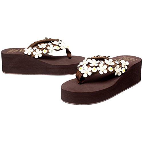 SHANGXIAN main strass des femmes flip-flops Sandales compensées brown