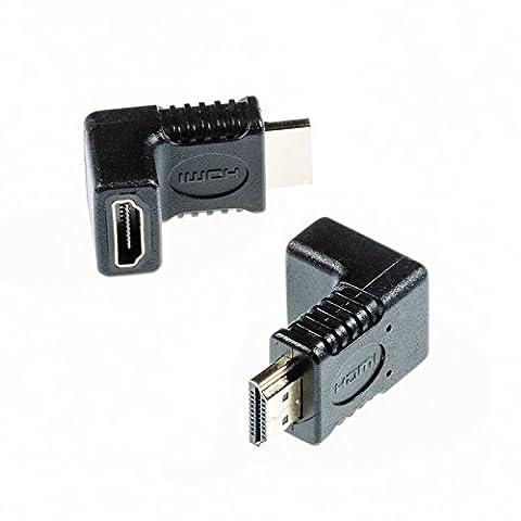 Poppstar HDMI Winkeladapter 90 Grad HDMI Stecker zu HDMI Buchse, 4k Ultra HD 2160p