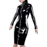 Sexy abito da donna in finta pelle FETISH a maniche lunghe vestito gotico catsuit nero Lunghezza Al Ginocchio Con Lacci Abito Clubwear