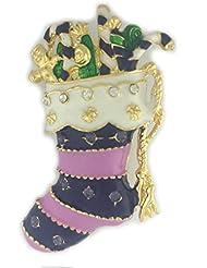 * Reino Unido * Navidad calcetín de color morado/rosa broche Pin presenta Festive Regalo Rhinestone bisutería secreto Santa