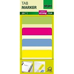 Sigel HN204 HN204 Marcapáginas adhesivos y rigidos, cinta de filme transparente extra fuerte, 20 tiras de 50 x 38 mm, 4 colores