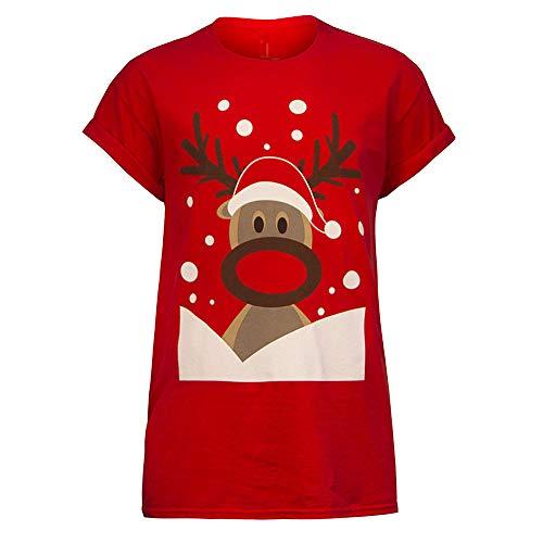 Vectry Weihnachtsbluse Christmas Jumper Weihnachtspullover Ugly Sweater Lustige Sweatshirts Hässliche Pullover, Mode Damen Weihnachten Gedruckt Tops Kurze Ärmel Shirts Mädchen Casual Freizeit Blusen