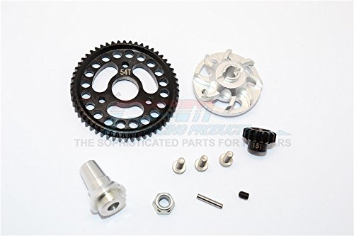 Traxxas Slash 4x4 Low-CG Version Upgrade Pièces Aluminium Gear Adapter With Steel 32 Pitch 54T Spur Gear & 15T Motor Gear - 1 Set Silver