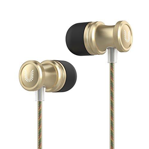 Kopfhörer, UiiSii US80 Stereo Bass In-Ear Kopfhörer mit Mikrofon, geringem Gewicht, 3.5mm Metall Klinkenstecker kompatibel(Gold)