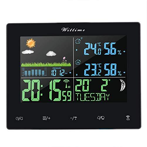 Wittime Bunte Digitale Funk Wetterstation mit Außensensor, Innen & Außen Temperatur und Luftfeuchtigkeit, Mondphase, Luftdruck, Wecker und Wettervorhersage mit 100M Übertragungsbereich