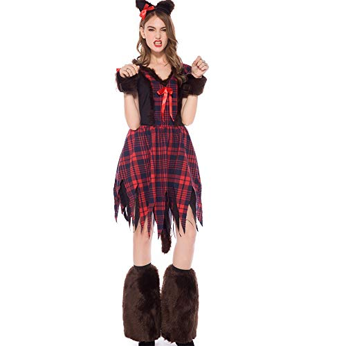 Märchen Erdbeer Kostüm - Dicomi Frauen Halloween Magic Hexenkleid Cosplay KostüM Tier Spielen Lange Dress Make Up Party Dress L