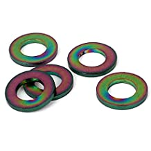 sourcingmap® Arandela plana 5 piezas M5 color titanio Ti métricas DIN 125 para bicicleta moto coche