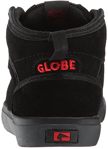 Globe Motley Mid Kids Wildleder Skateschuh Black/Black/Red