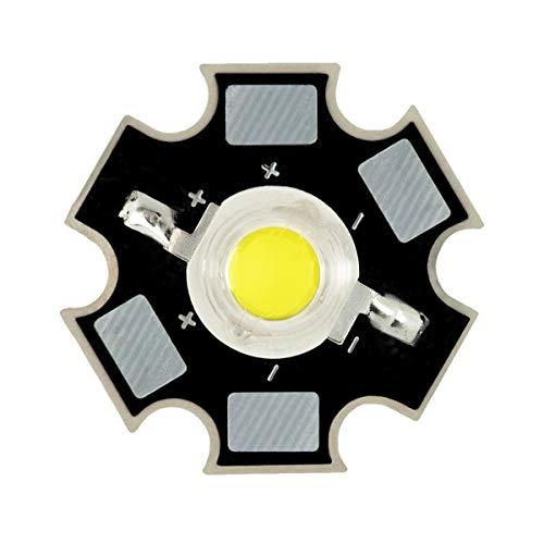 1W 3W Diode électroluminescente à LED Haute Puissance sur Circuit Imprimé 20 mm PCB, 1W, Blanc Froid (6500k), 10 x LEDs