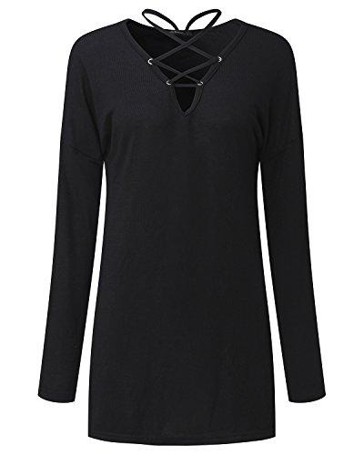 Cnfio Damen Pullover Langarmshirt V Ausschnitt Knit Verband bandage Lace-up Bluse Tops Schwarz