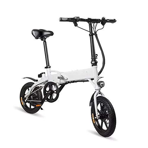 Elektro-Moped-Fahrrad-6V 250W 10.4Ah 14 Zoll Folding Mountain Bike 25 km/h Max 60KM Kilometerstand elektrisches Fahrrad leistungsstarker Motor (Farbe : Weiß, Größe : 130x40x110cm)