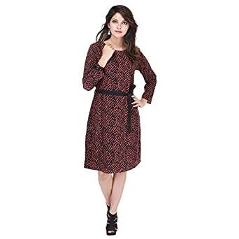 SAARVI FASHION Women's Shift Dress - SF028Brown-S_Brown_Small