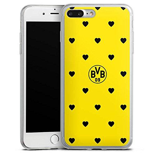 Apple iPhone 8 Plus Slim Case Silikon Hülle Schutzhülle Borussia Dortmund BVB Herzen Silikon Slim Case transparent