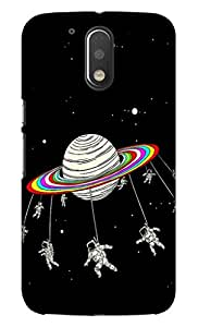 Blutec Saturn With Astronauts Design 3D Printed Hard Back Case Cover for Motorola Moto G4 Plus