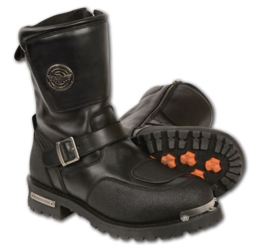 Herren Motorrad-Gurt Stiefel Boots Leder w/Reflektierende Paspeln & Gear Shift Schutz Regular) Leder Shift Boots